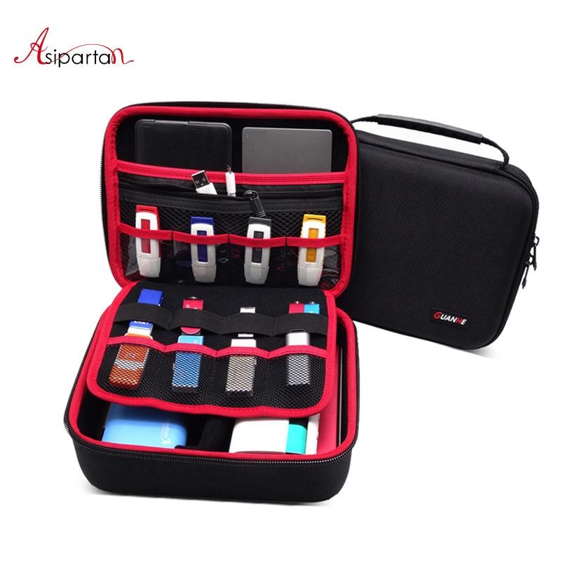 Asipartan voyage accessoires numériques sac de rangement Portable HDD USB lecteur Flash données câble pour batterie externe organiser boîte de rangement