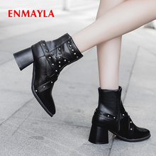ENMAYLA Solid PU Short Plush Motorcycle Boots Autumn Ankle Boots for Women Pointed Toe High Square Heel Metal Decoration Shoes