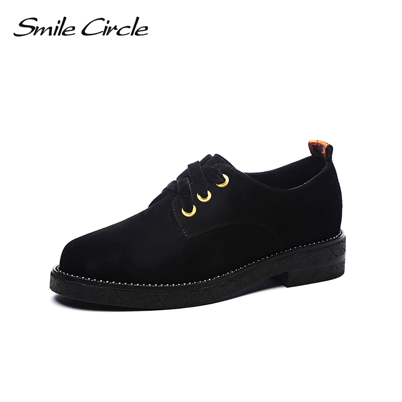 Smile Circle 2018 British Style Genuine Leather Shoes For Women Fashion Lace-up Round Toe Flat Platform Casual Shoes A9A8118-1 xiaying smile woman pumps shoes women spring autumn wedges heels british style classics round toe lace up thick sole women shoes
