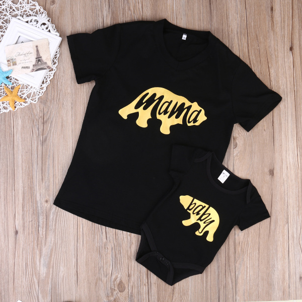 Hot Sale 2017 Mama Baby Family Matching Clothes Casual Letter Short Sleeve Tee Shirts Bodysuits Tops Black Bear New Brand 2017