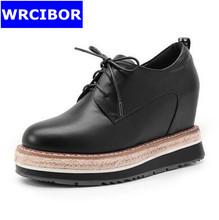 WRCIBOR 2017 Women's Pumps Genuine leather Platform Round toe High heels Lace up leisure wedges Increased Internal Shoes Woman