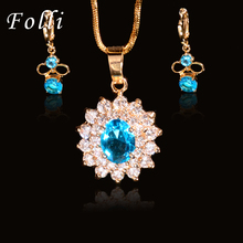 Нигерийский Свадебные Африканские Бусы Серьги Ожерелье Установить Lovly Blue Crystal Циркон Дубайская Золото Цвет Ювелирные Наборы Для Женщин Подарок