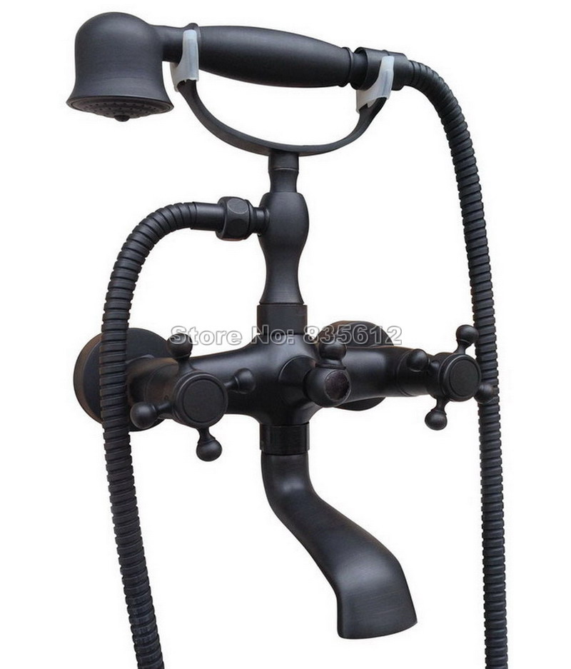 Wall Mounted Clawfoot Bathroom Black Oil Rubbed Bronze Bath Tub Faucet and Telephone Style Handheld Shower Mixer Tap Wtf706