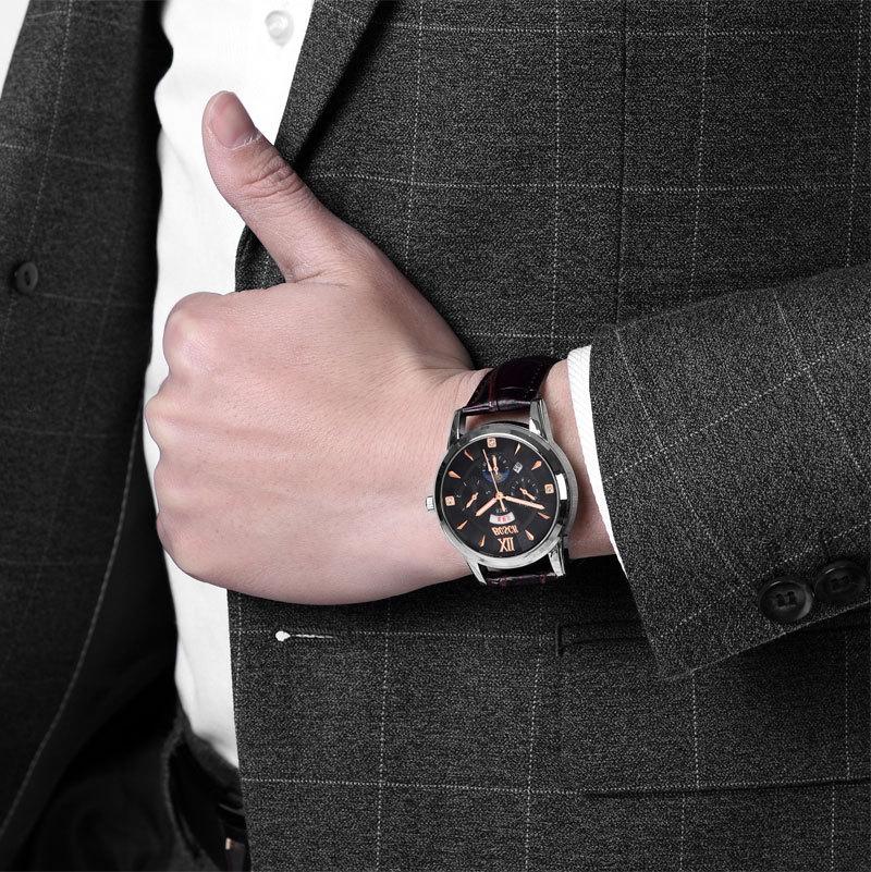 Брендовые роскошные полный часы из нержавеющей стали Для мужчин Бизнес ультра тонкий Кварцевые водонепроницаемые часы Военная наручные ...
