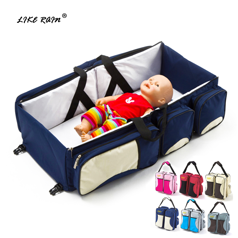 Brand 3in1 Portable Diapers Bags Portable Baby Cribs Newborn Safe Travel Folding Baby Bed Nappy Mummy Bags Stroller Bags BBG01