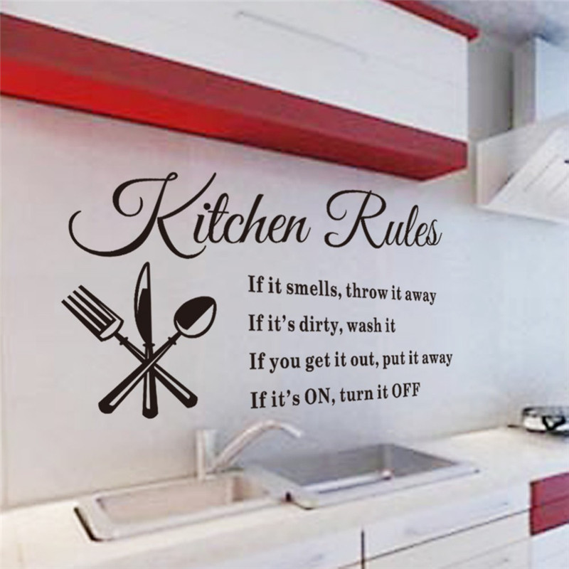 Newest Hot Sale Kitchen Rules Words Wall Stickers Decal Home Decor Removable  Vinyl Art Mural GI602665