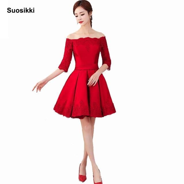 7b9be34dd Suosikki 2018 vino rojo encaje bordado satén media manga vestido De noche  corto elegante vestido De