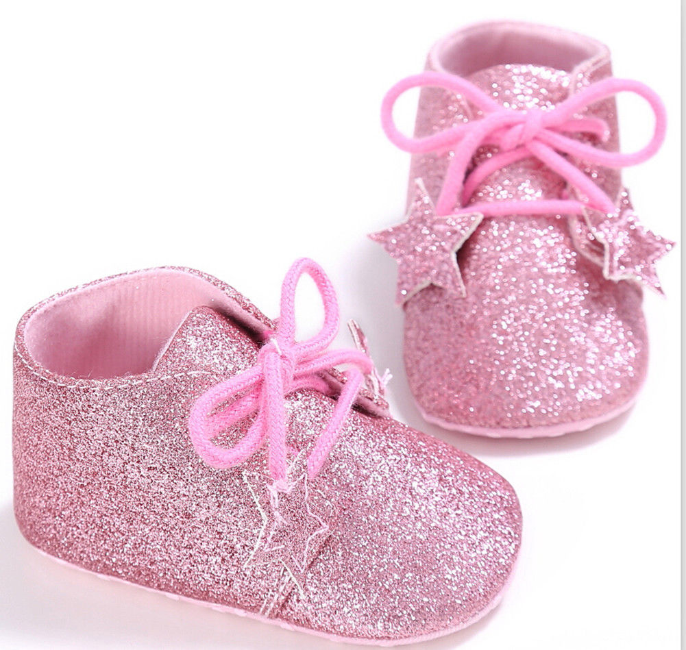Pudcoco Summer Newborn Baby Girl First Walker Shoes Stars Tie Soft Slippers Sneaker 0-18M