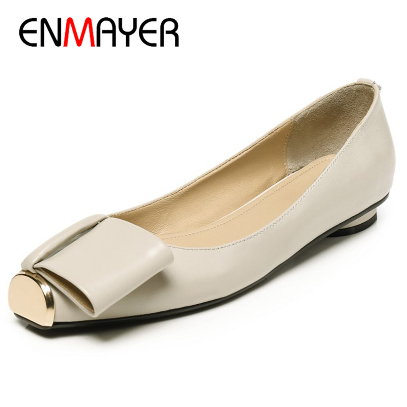 ENMAYER Shallow Shoes Woman Plus Size 34-43 Black Apricot Pink Summer Flats Casual Shoes Geniune Leather Shoes Slip-on Flats bohemia plus size 34 41 new fashion wedges sandals slip on elastic band casual platform shoes woman summer lady shoes shallow