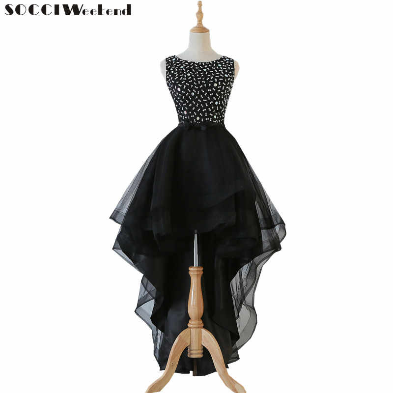 c60ff0158fd13 SOCCI Weekend Black Cocktail Dresses 2019 Tops Beaded Crystal The Banquet  High/Low Short Birthday