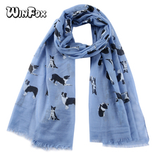 Winfox Pink Navy Cute Black Dog Printed Scarf Female Long Soft Shawls Spring Summer Hijab Wrap for Women Lady