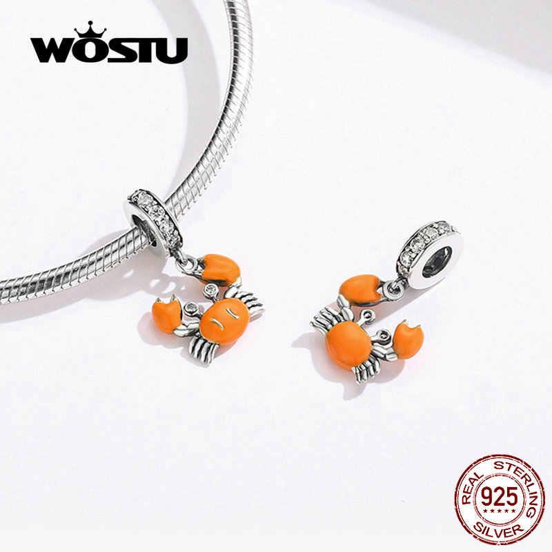 WOSTU оранжевый Краб висячий Шарм 925 серебро Циркон эмалевые Бусины Подходят Оригинальный Браслет Подвески для изготовления ювелирных изделий CTC076