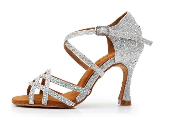 Ballroom Dance Shoes Women Latin Pu Rhinestones Dancing Salsa Silver Heel 8.5cm