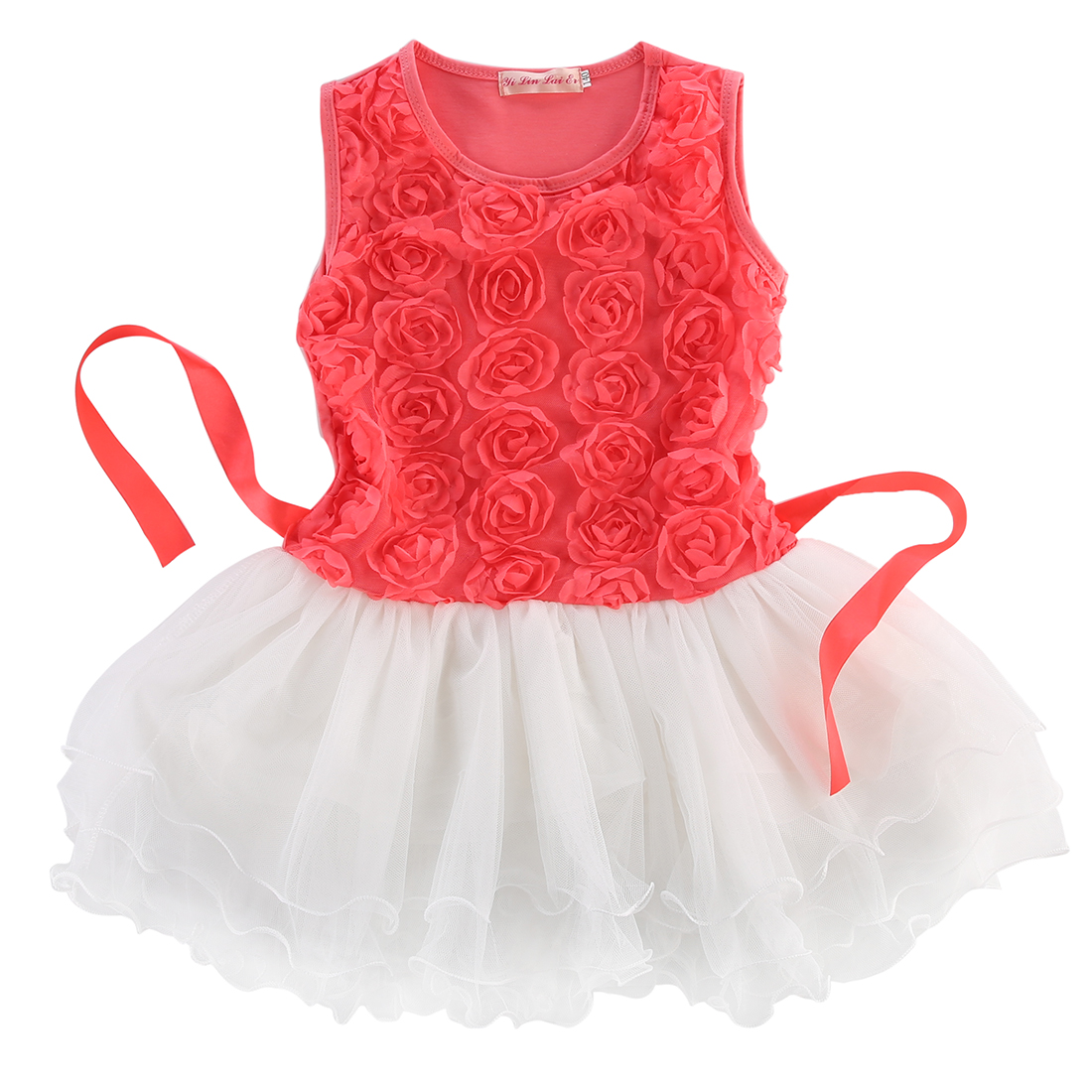 Girl Cute Fashion Dresses New Rose Flower Princess Pageant Birthday Dress Children Baby Kids Girls Ball Gown Toddlers Clothes flower girls dress 11 color with rose party birthday chirstening dress for baby girl princess children toddler girl vest dresses