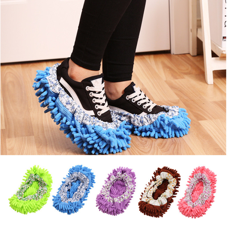 4pcs/set Floor Clean Cloth Shoe Cover Mop Covers 9 Colors Easy Cleaning Sweep Floor Chenille Material