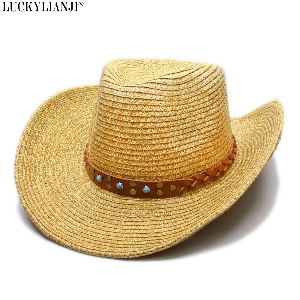 LUCKYLIANJI Women s Men s Unisex s Soft Straw Wide Brim Sun Beach Jazz  Panama Cowboy Western Hat Fedora Turquoise Band (58cm) 0d60f5b81dc6