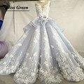 Luxo frisada lace puffy vestidos quinceanera azul-cinza azul royal capela trem de alta collar vestido de baile sweet 16 princesa
