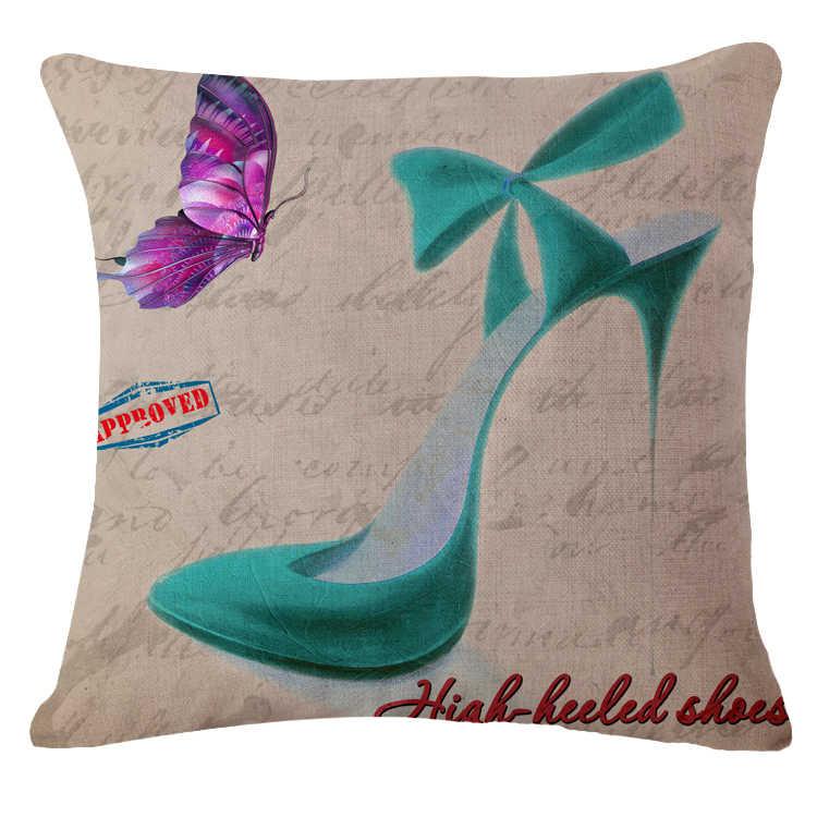 Красивые, на высоком каблуке Чехлы для подушек принт Лен привязанность диван-кровать в машине семья дома декоративные пледы наволочки Housse де Coussin