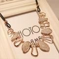 New fashion Elegant Design irregular geometric matte Chunky Gold Chain Choker Bib Statement Collar Pendant Necklace