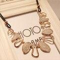 Nueva moda elegante diseño irregular mate geométrica choker collar babero declaración chunky cadena de oro colgante collar