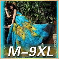 2019 summer new printed chiffon dress peacock printing large size beach dress large hem elegant sleeveless blue print 9XL dress