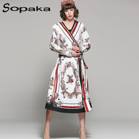2018 Spring High Quality V Neck Sashes White And Black Stripe Floral Print Mid Calf Lady