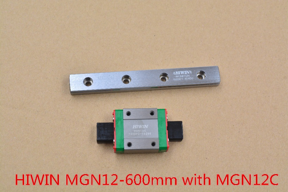 HIWIN MR12 12mm linear guide rail stainless steel rail MGN12 length 600mm with MGN12C linear block 1pcs