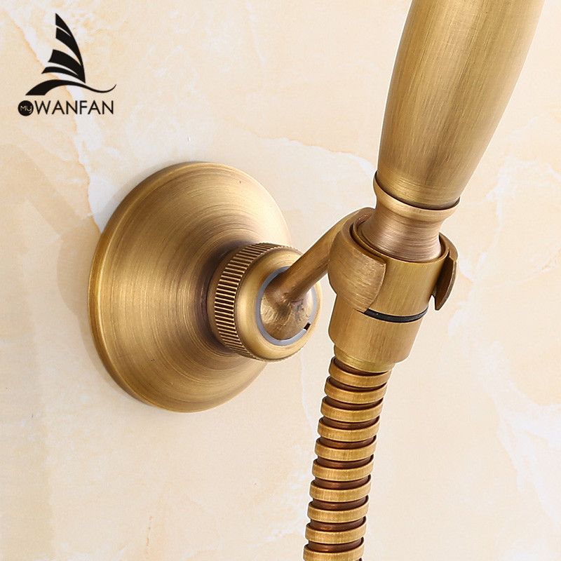 Shower Mounting Bracke Antique Brass Swivel Handheld Shower Holder Shower Head Seat Rack Bathroom Part Bath Accessories HJ-0517F
