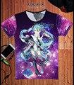 Roupas de verão Camisa de T Anime VOCALOID Hatsune Miku Cosplay Novidade Manga Curta Mulheres/Homens Camisetas Tops Tees