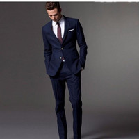 Fashion Men's Suit Navy Lapel Single breasted Men's Ball Gown and Business Office Professional Set (Jacket + Pants) Custom Made