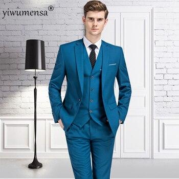 YWMS-33 Italian Luxury suit White mens Jacket Pants Formal Dress Men Suit Set men wedding suit groom tuxedos (jacket+pants+vest)