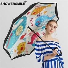 SHOWERSMILE Reverse Umbrella Automatic Print Inverted Folding Double Layer Sunny And Rainy Windproof
