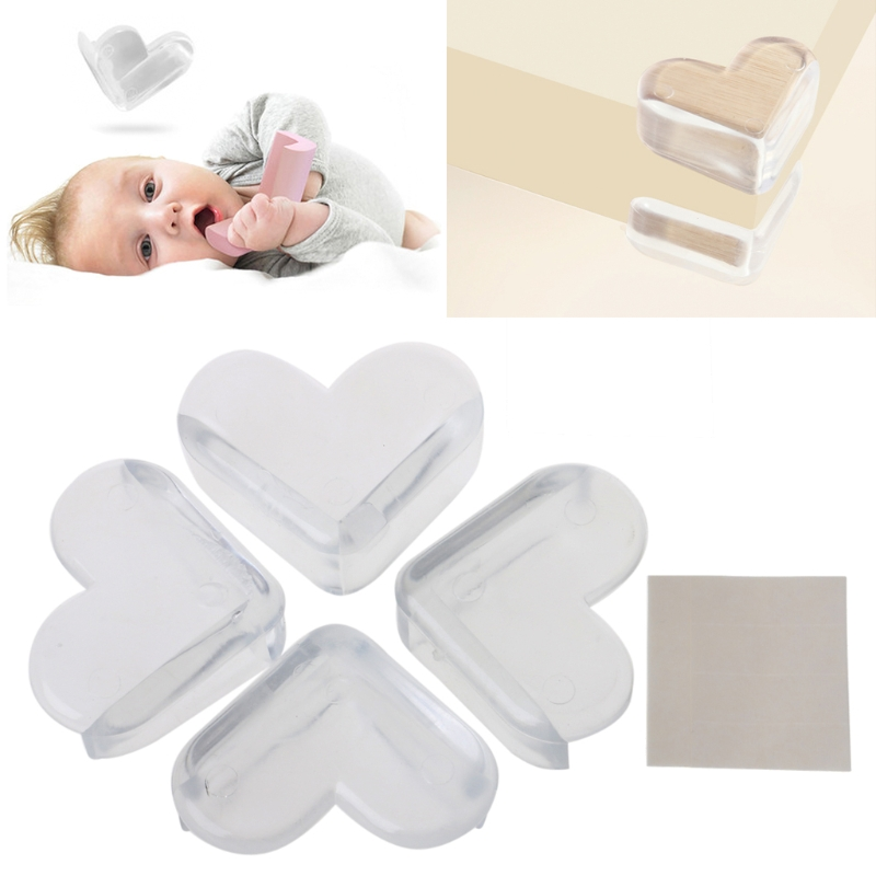 4pcs/lot Love Style Rubber Desk Corners Guard <font><b>Baby</b></font> Safety Protector <font><b>Products</b></font> <font><b>Proofing</b></font> Table Corner Edge Protection toddler Safe image