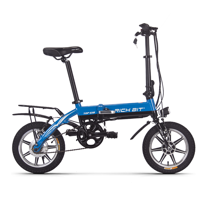 Richbit 250W 36V 10.2Ah City Portable Folding Electric Bicycle Frame Inner Removable Battery Relased 14 Inch Mini Folding eBike richbit road