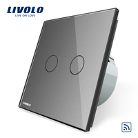 Livolo EU Standard Grey Crystal Glass Panel EU Standard VL C702R 15 Wall Light Remote Switch