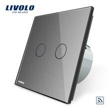Livolo ЕС Стандартный, Серый Кристалл Стекло Панель, AC 220 ~ 250 В, VL-C702R-15, настенный светильник дистанционный выключатель, не мини-удаленного