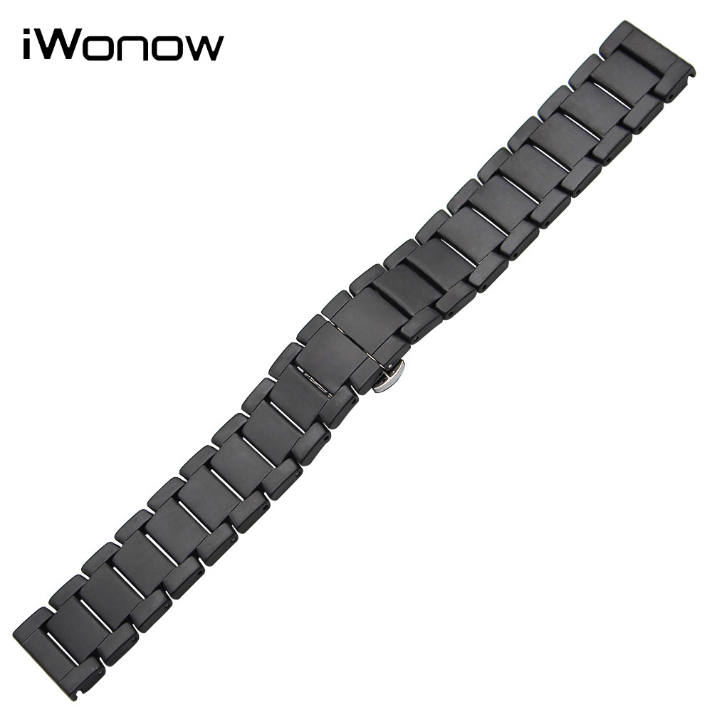 Full Ceramic Watch Band 22mm for Samsung Gear S3 Classic Frontier Butterfly Buckle Strap Wrist Belt