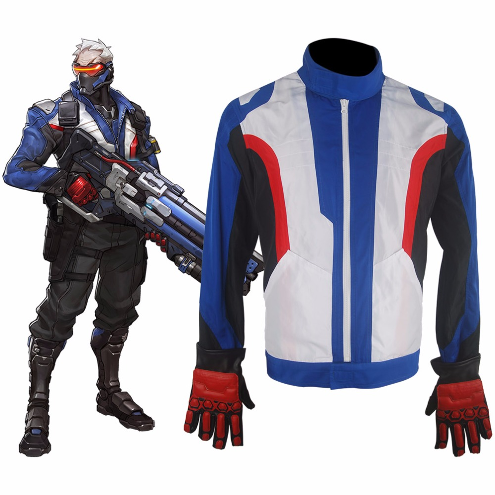 Video Game OW Soldier 76 Jacket  Coat Outfit  Gloves Halloween comic-con Cosplay Costume Men