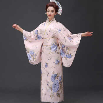 New Arrival Japanese Women Original Yukata Dress Traditional Kimono With Obi Performance Dance Costumes One Size - DISCOUNT ITEM  43% OFF All Category
