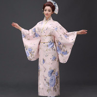 New Arrival Japanese Women Original Yukata Dress Traditional Kimono With Obi Performance Dance Costumes One Size