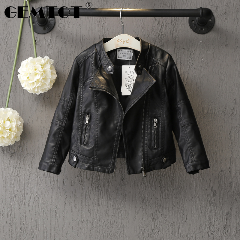 GEMTOT Children's Jacket 2019 Spring And Autumn New Boys And Girls Fashion Leather Zipper Jacket Children's Clothing