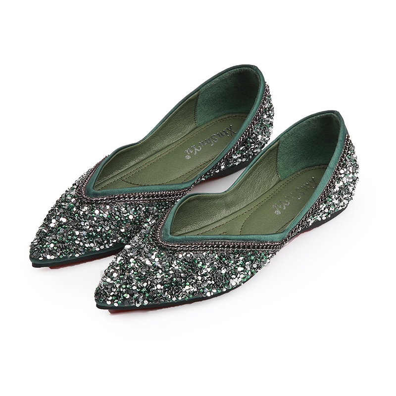 2019 Women's Sandals Fashion Casual Shoes Spring And Summer Flat Shoes Large Size Casual Shoes Pointed Rhinestone Women's Shoes