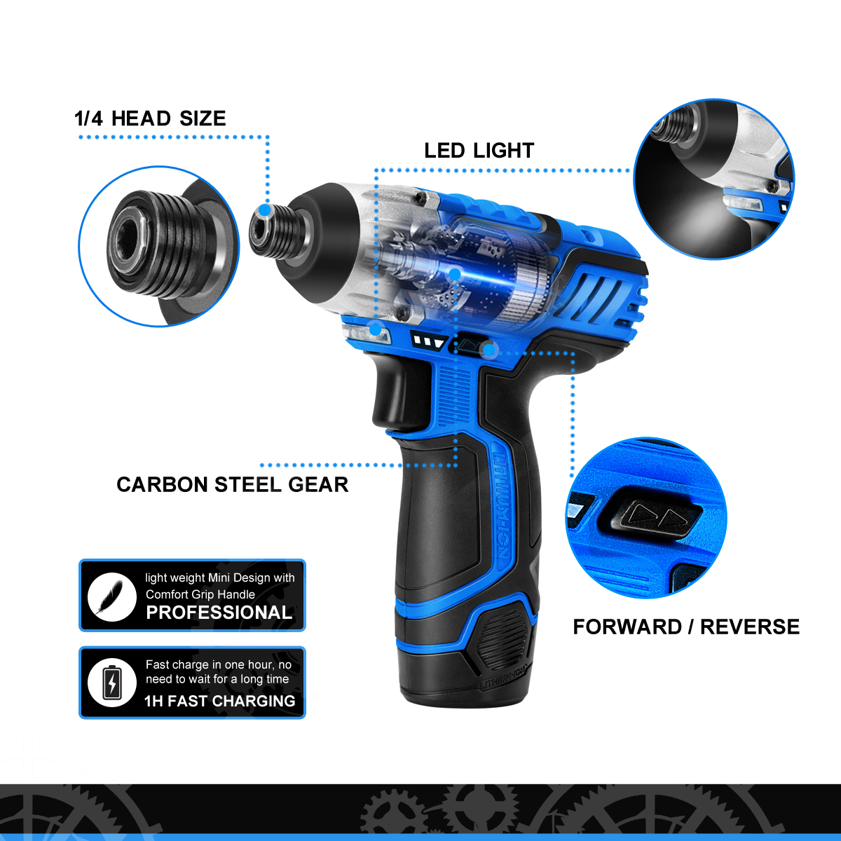 Image 3 - PROSTORMER 100NM Electric Screwdriver 12V Cordless Drill Lithium Battery Rechargeable Hexagon Power Cordless Screwdriver Screw-in Electric Screwdrivers from Tools on