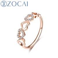 ZOCAI интимный любовник 0,08 CT Сертифицированный бриллиант кольцо в форме сердца 100% натуральный бриллиант обручальное кольцо 18 K розовое золото