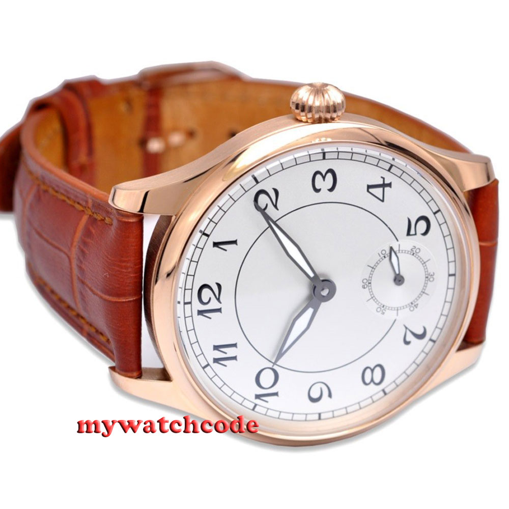 44mm parnis white dial 6498 movement brown leather hand winding mens watch цена и фото