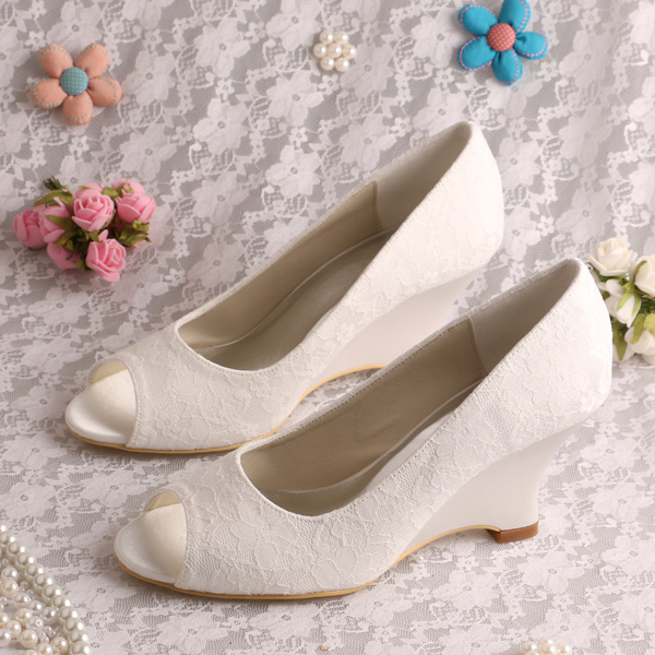 Wedopus MW1009 Women Wedge Heel Peep Toe Slip On Lace Wedding Shoes For  Bride  In Womenu0027s Pumps From Shoes On Aliexpress.com | Alibaba Group