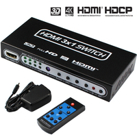 4K HDMI Switch 3x1 HDMI Switch Audio Extractor ARC & IR 3 Port HDMI Switch Remote 4Kx2K 3D ARC For PS4 PS3 Apple TV XBox
