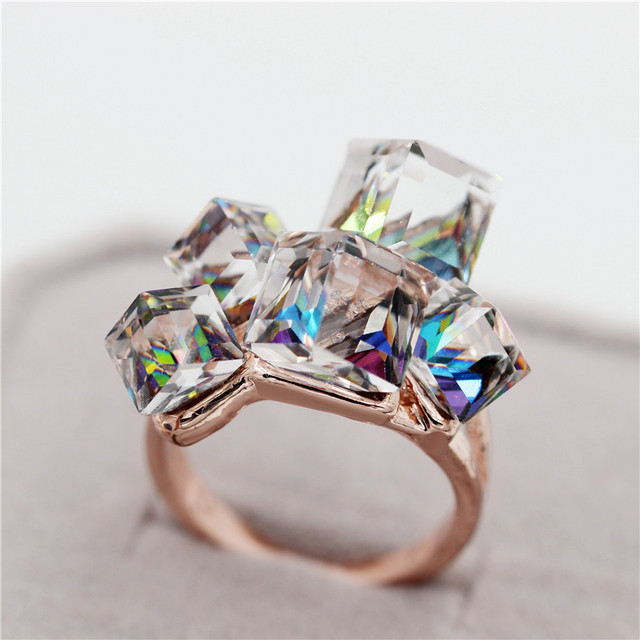 49% Off Square Stones Jewelry Rose Gold Color Rings Women Bijoux Blue/Red Cubic Zircon Ring Crystal Anillos Ladies Gifts GR123