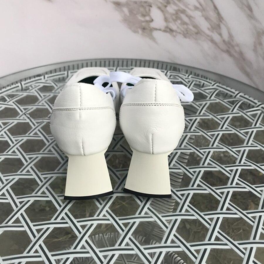 Prova Perfetto Новый Подиум стиль крест накрест туфли на высоком каблуке для женщин квадратный носок необычный каблук натуральная кожа дышащие женские туфли лодочки - 6