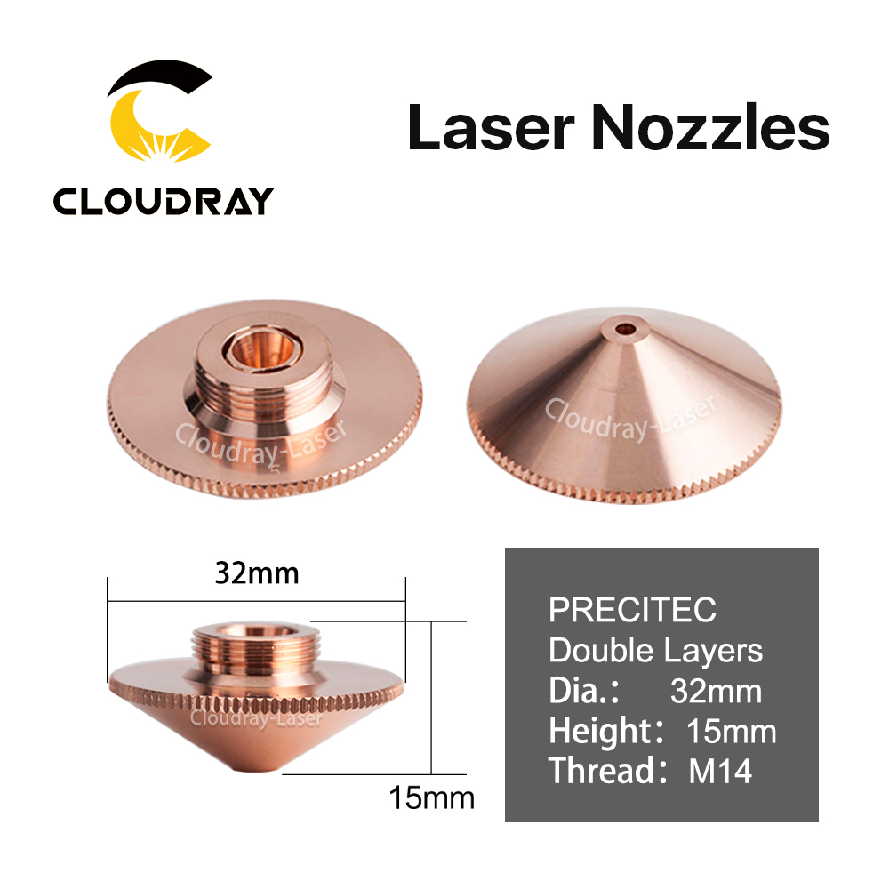 Cloudray Laser Düse Doppel Schichten Dia.32mm Kaliber 0,8-4,0 für Raytools Befähigen BT230/240 1064nm Faserlaser Schneiden kopf